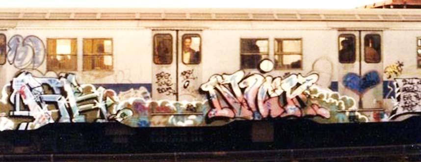 graffiti subway train 1980s newyork nyc usa kr.one nick kolorstorm