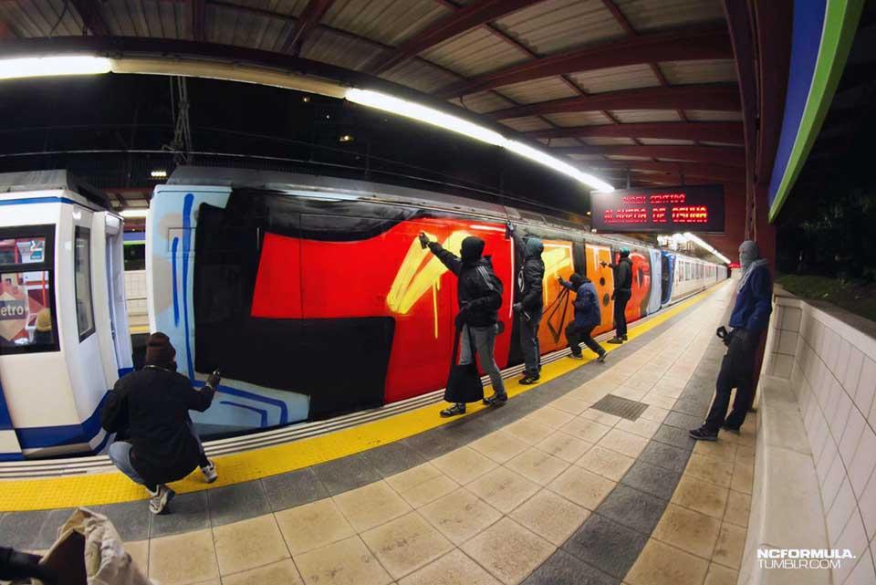 graffiti subway train wholecar madrid spain 1up action platform