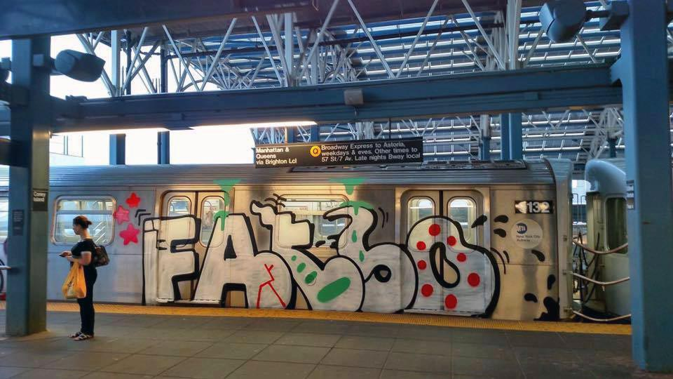 graffiti train subway nyc newyork usa mta fatso running 2016