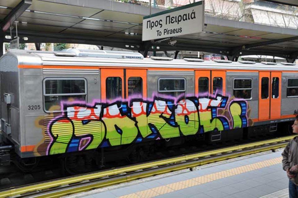 subway graffiti train athens greece running sokoe