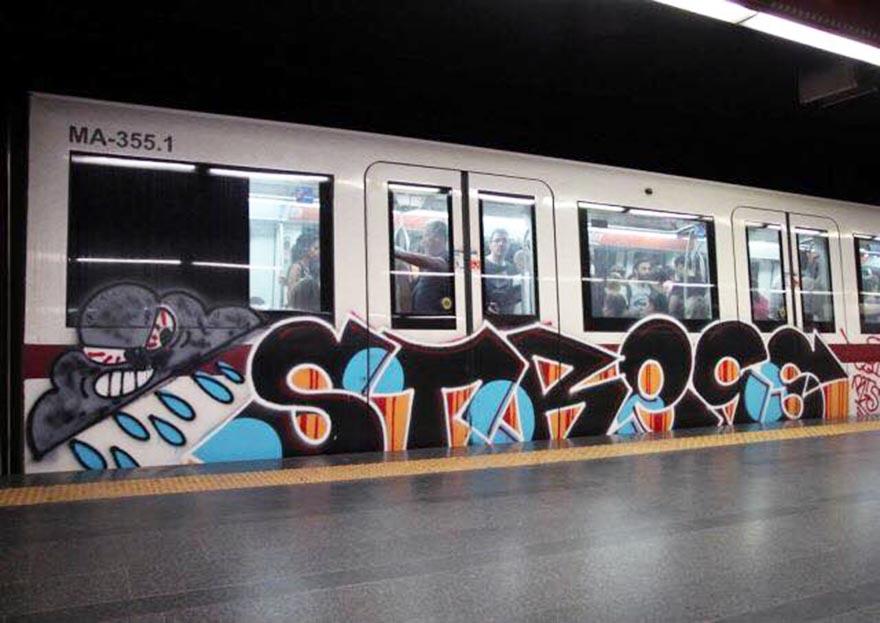 graffiti subway train rome italy stress running