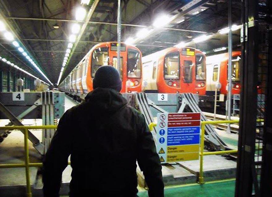 subway graffiti train london uk yard