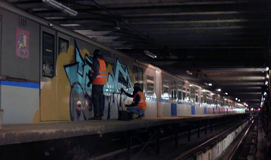 graffiti subway train moskow russia action