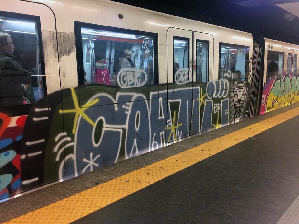 graffiti subway train rome italy gbr running