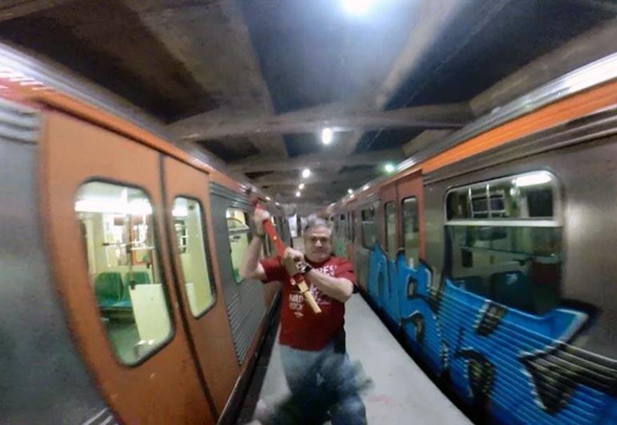 graffiti train subway athens greece run gopro 2016