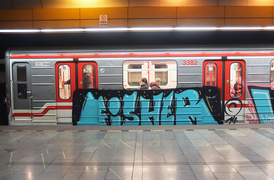 writing trains subway graffiti czechrepublic prague fisher rip