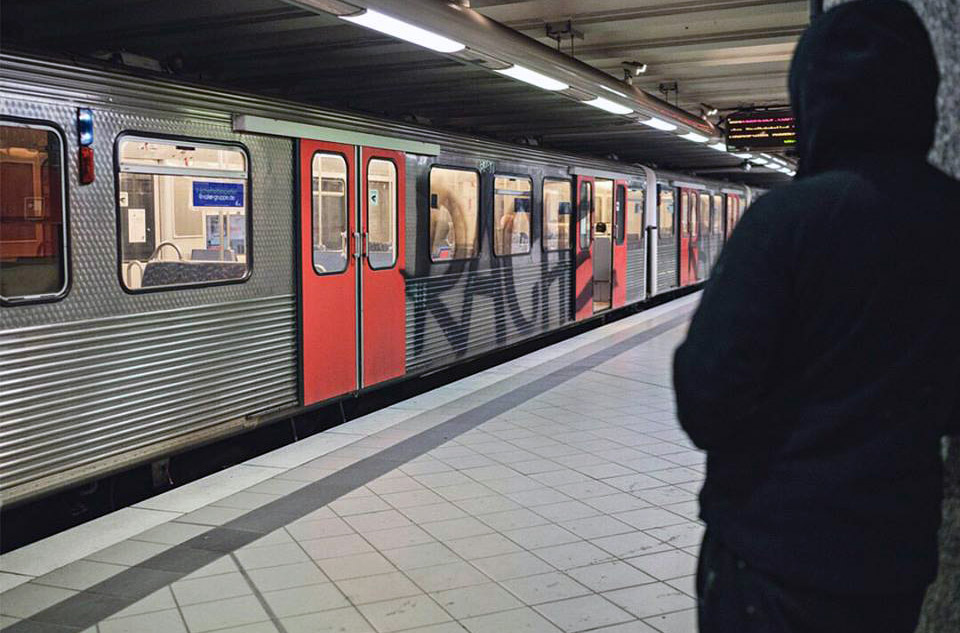 graffiti train subway writing hamburg germany ednight rache running