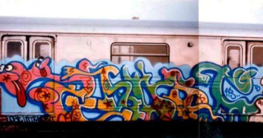 graffiti train writing subway nyc newyork usa classic 80s ghost ris