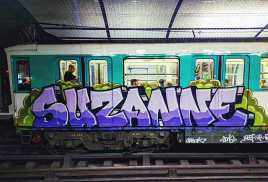train graffiti writing subway paris france suzanne running