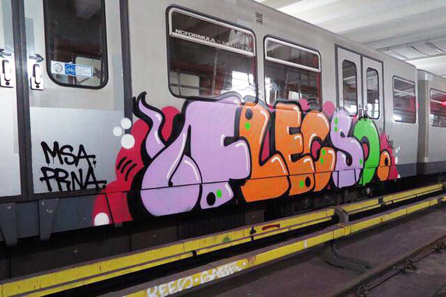 graffiti train subway writing vienna austria flecso 2017