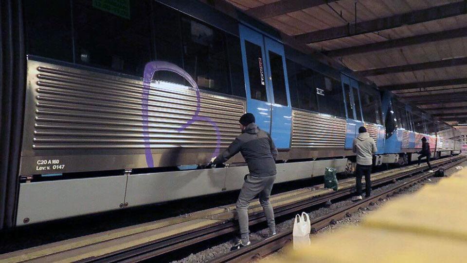 graffiti writing subway train stockholm sweden action
