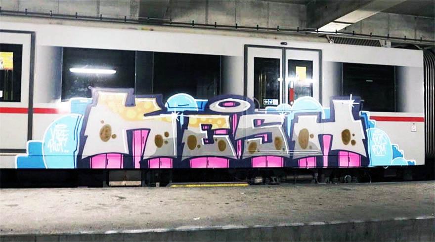 graffiti train subway writing metro vienna austria kesh