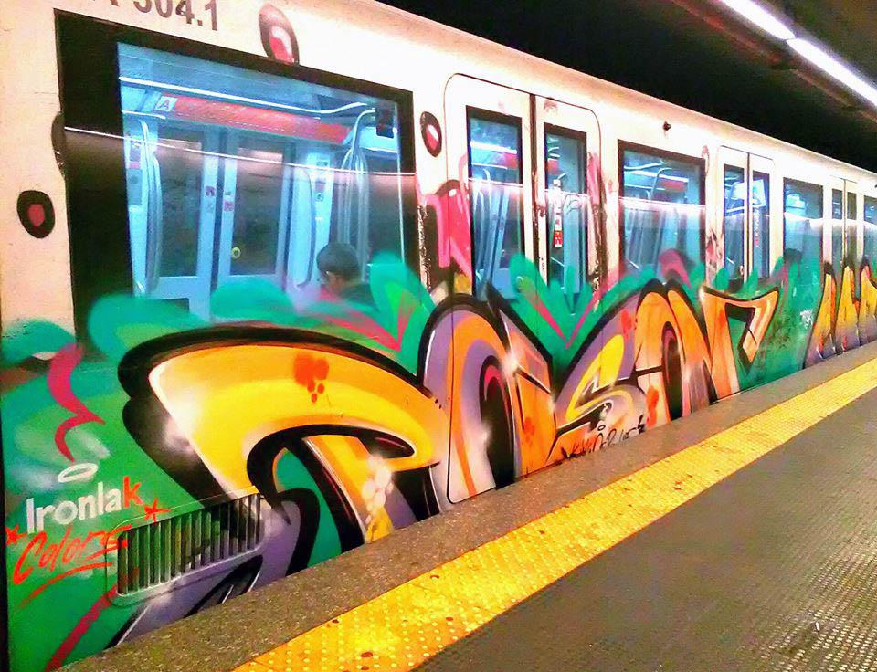 graffiti train subway writing rome italy poison running