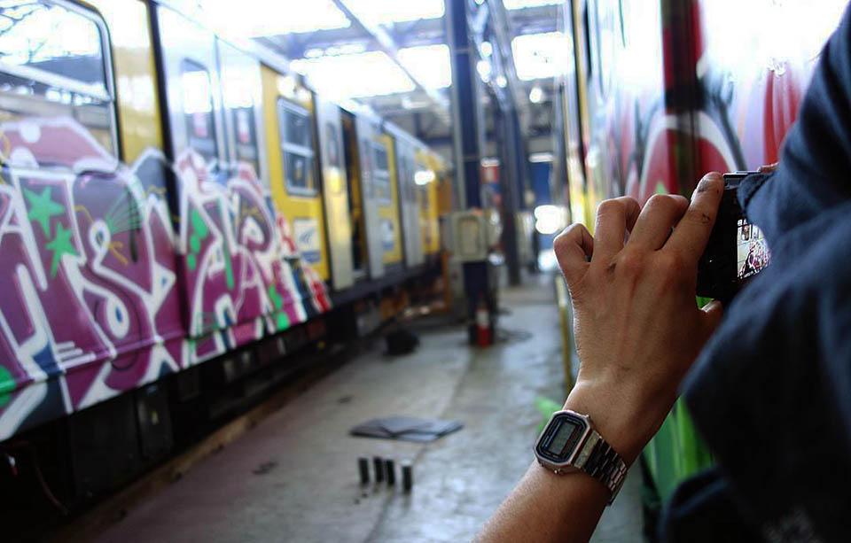 graffiti train subway writing naples italy action photo 2017