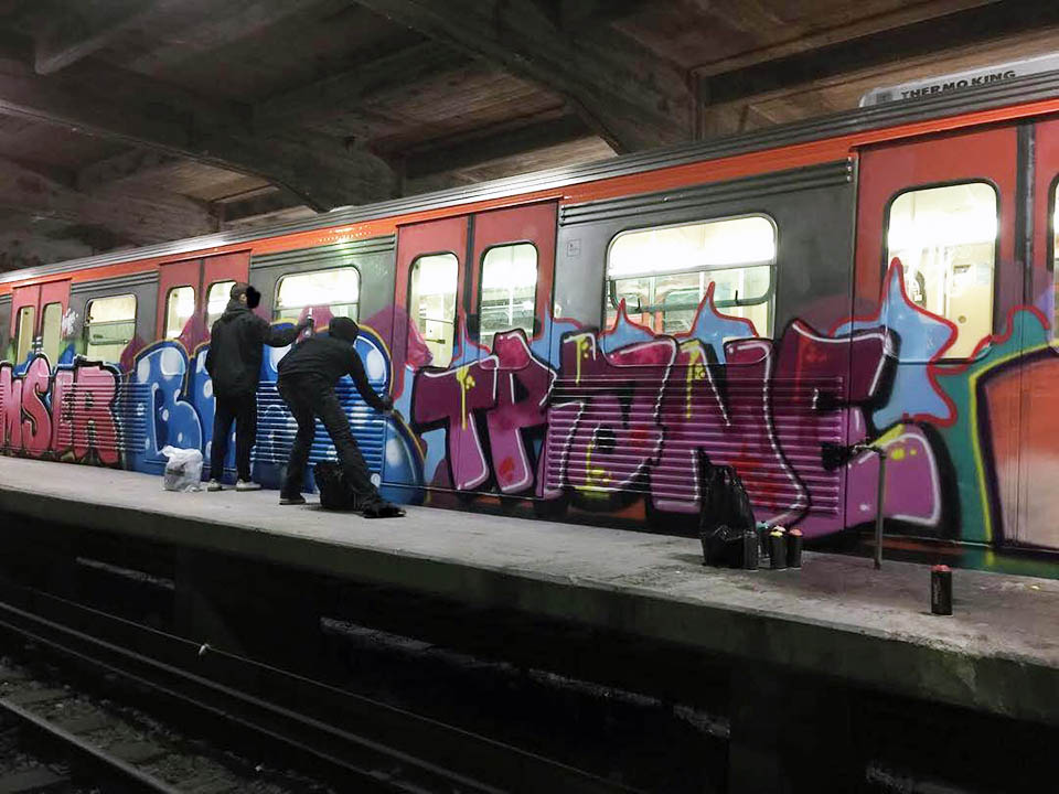 graffiti train subway writing athens greece mser trane