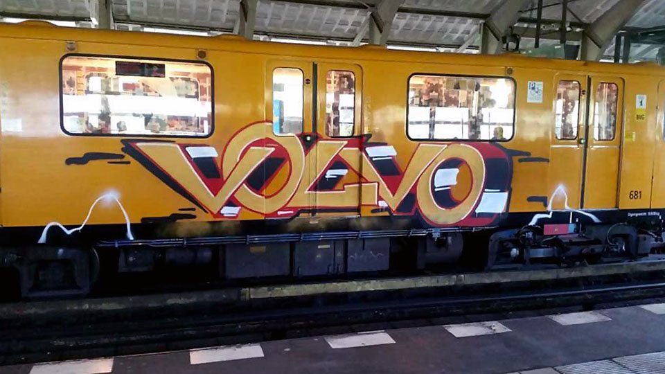 graffiti writing train subway art berlin germany running volvo 2018