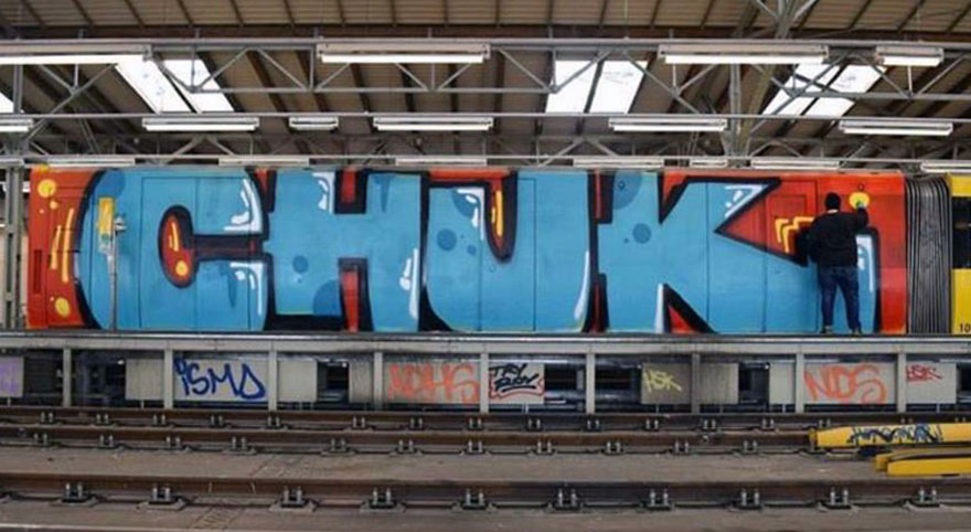 graffiti writing train subway art berlin germany wholecar chuk action