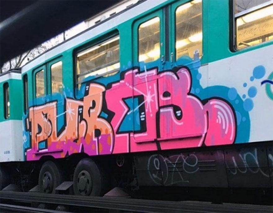 graffiti subway train writing paris france pubes