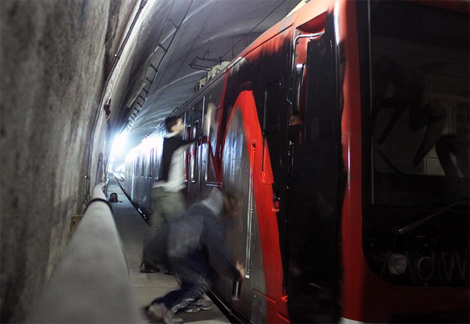 catania subway graffiti tunnel action