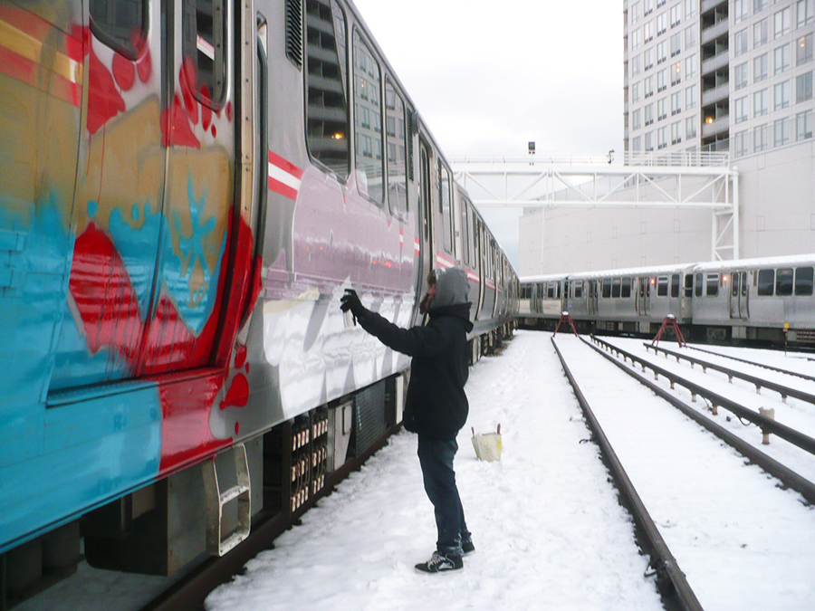 chicago graffiti subway yard edem action snow