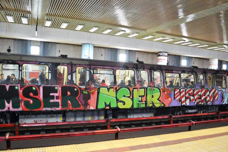bucharest subway graffiti 3xmser 2013 running