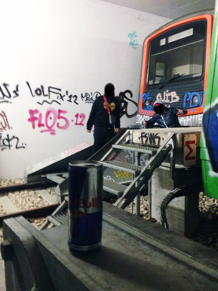 subway graffiti tunnel athens