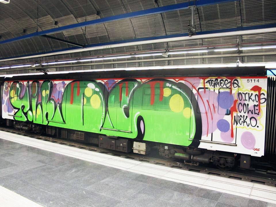 graffiti subway tiros barcelona spain oneman wholecar