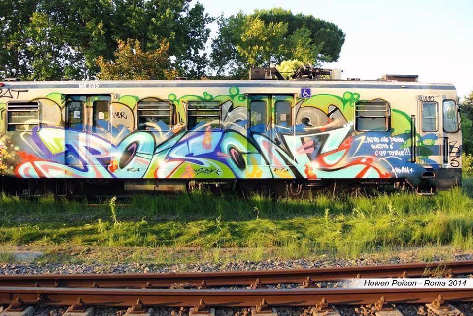 graffiti rome subway italy running poison