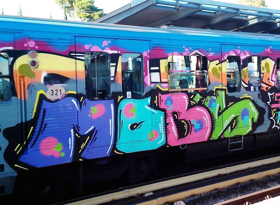 graffiti subway athens greece mobs running fuckthecrisis