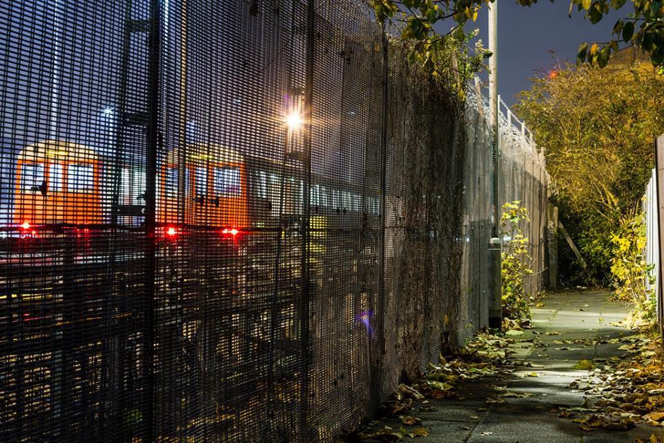 graffiti subway london uk fence yard