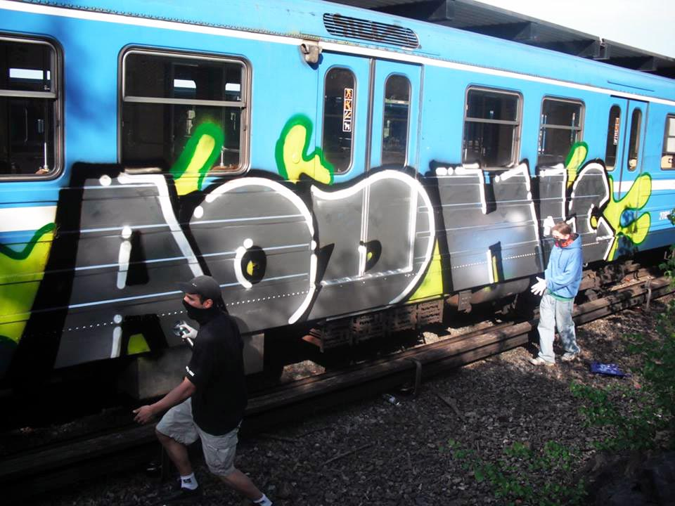 graffiti subway train stockholm sweden aod hlc action