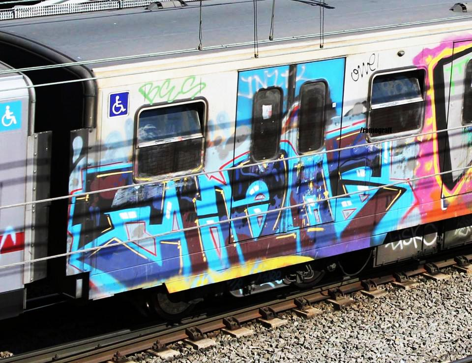 graffiti subway rome italy chaos running
