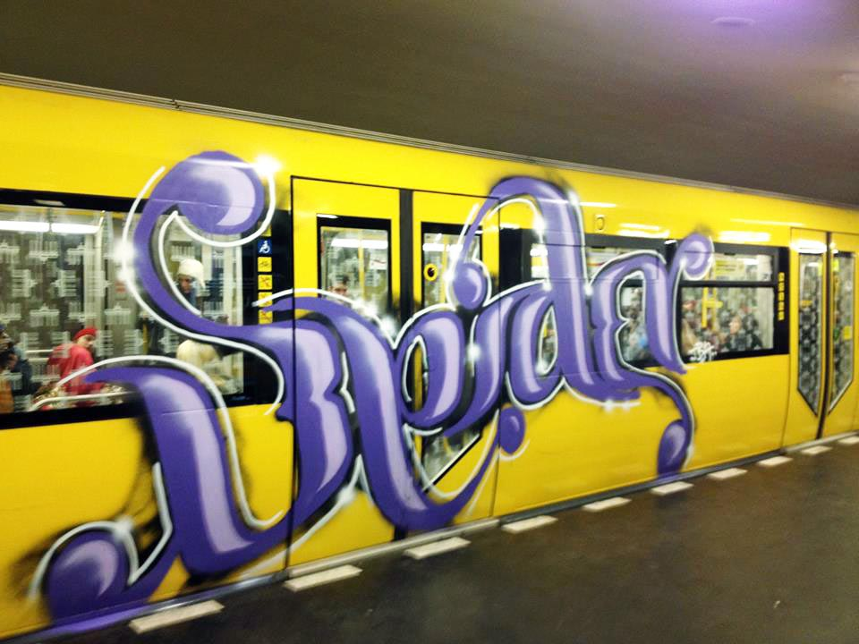 graffiti subway train germany berlin spider tba