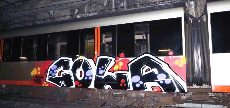 graffiti train subway spain bilbao cola