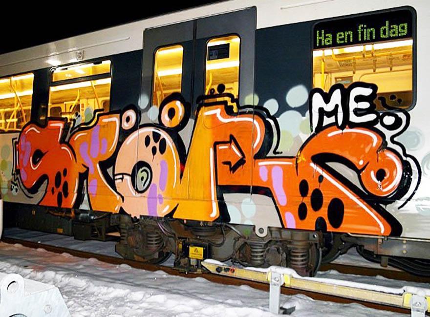 graffiti subway train norway oslo stor