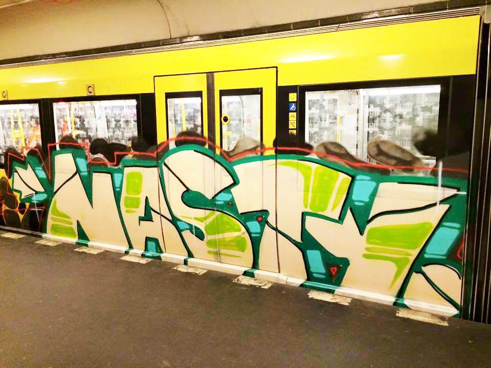 graffiti subway train nasty berlin germany running 2015