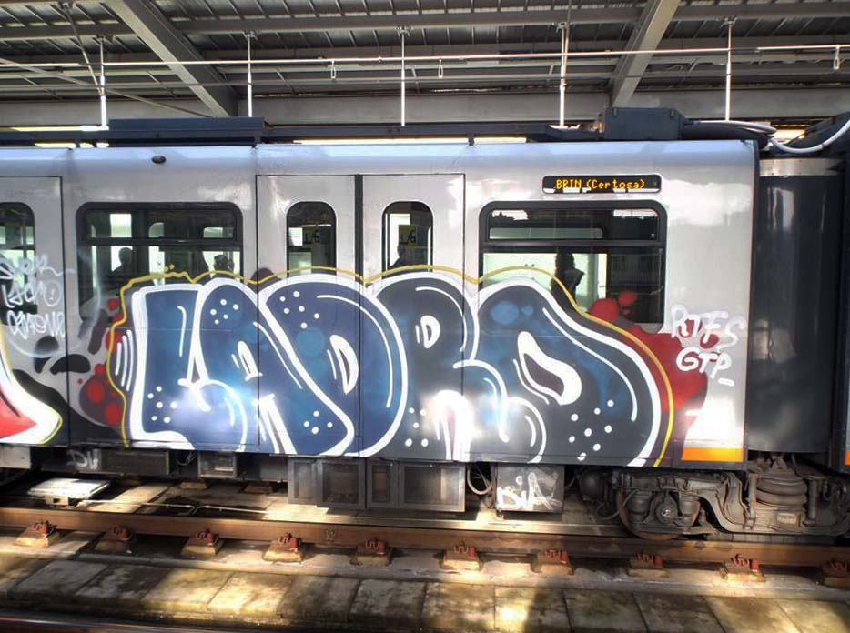 graffiti subway train genova italy subway