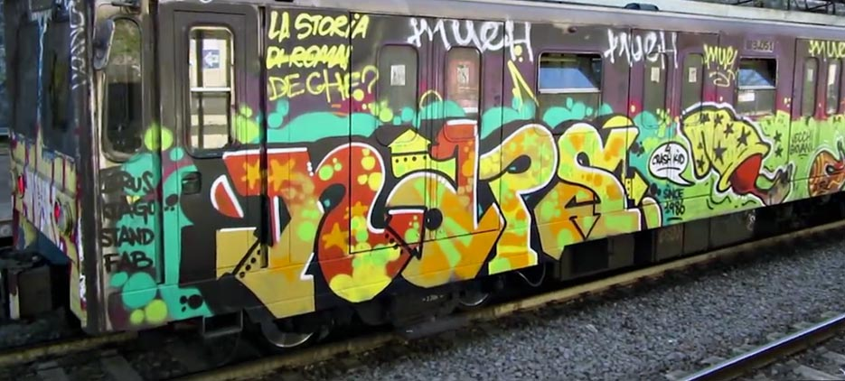 graffiti train subway rome italy naps
