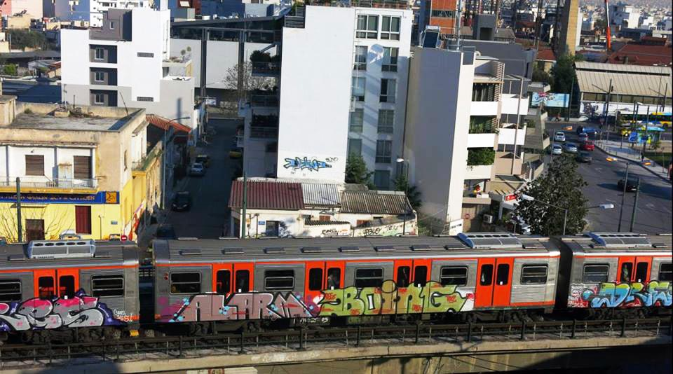 graffiti subway train athens