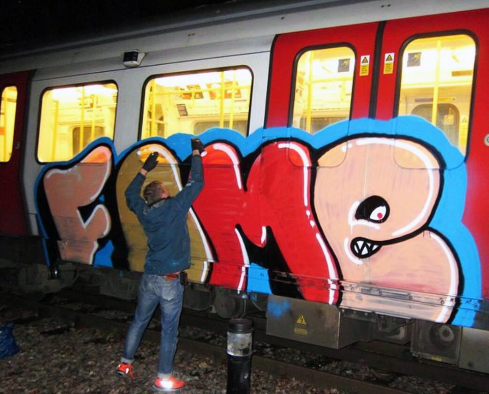graffiti subway train london fame