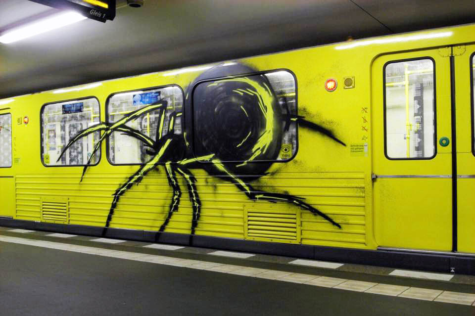 graffiti subway train berlin germany spider tba