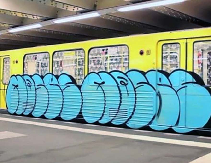 graffiti subway train mosesbytaps berlin germany