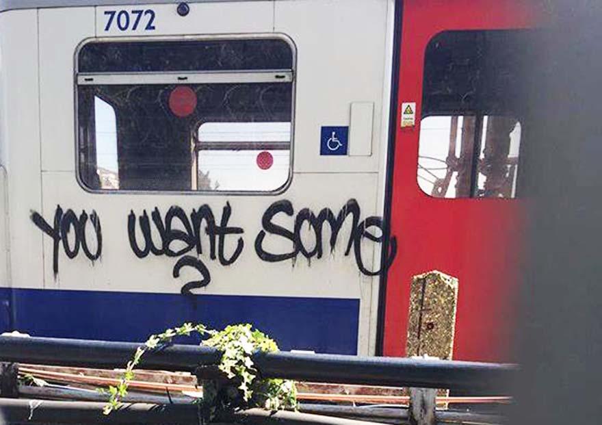 graffiti subway train london uk tube
