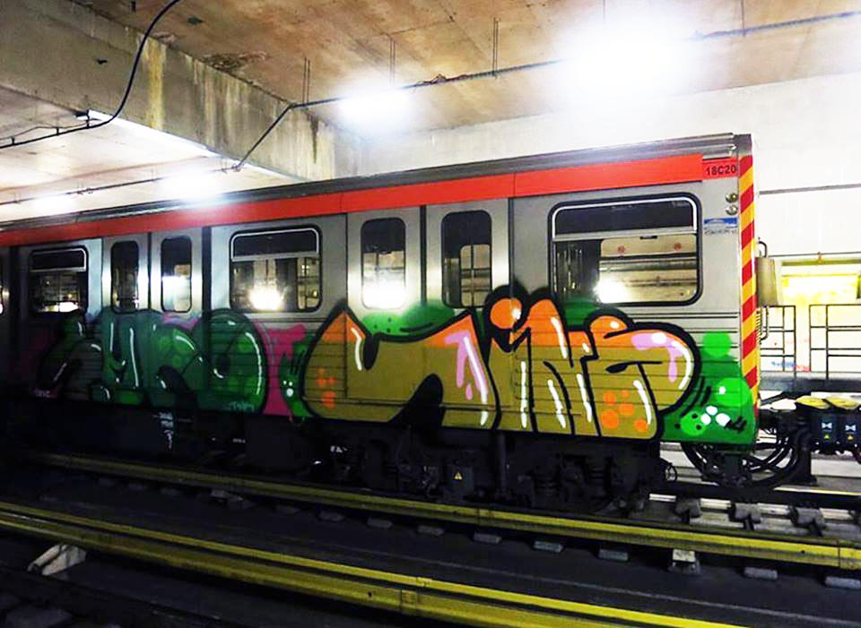 graffiti train subway athens greece vino