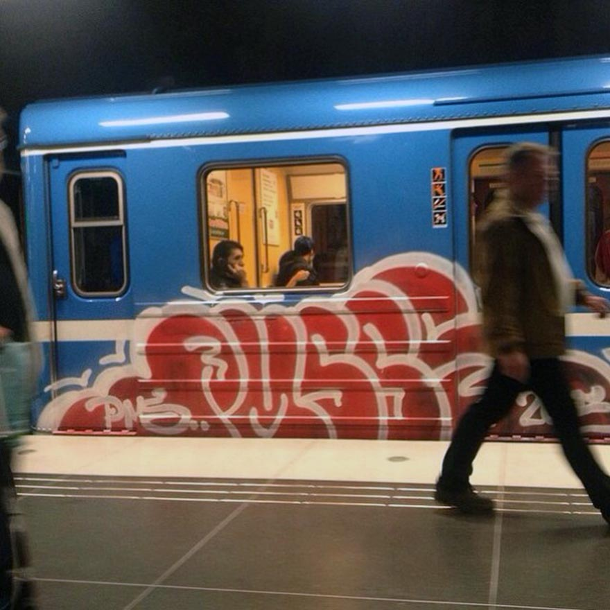graffiti subway train stockholm sweden pms