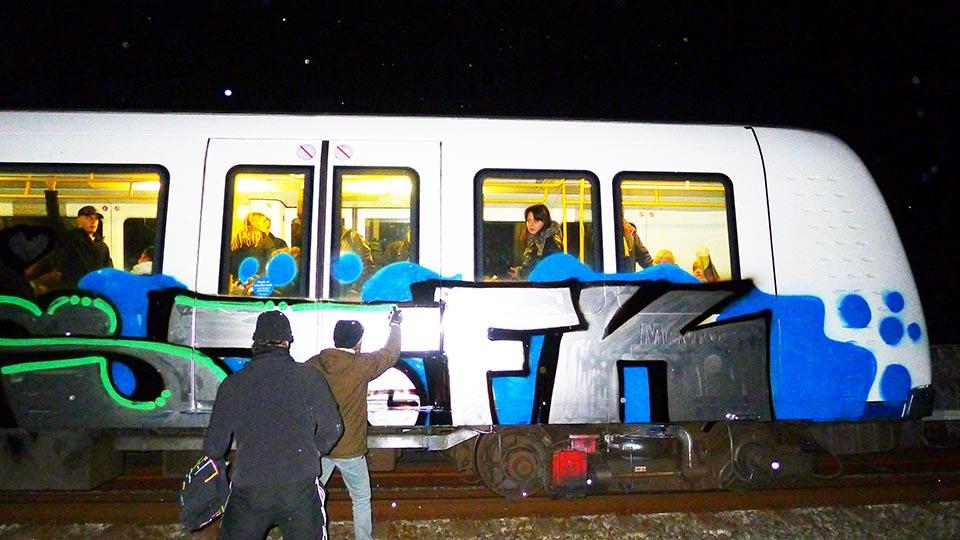 graffiti subway train copenhagen denmark fk