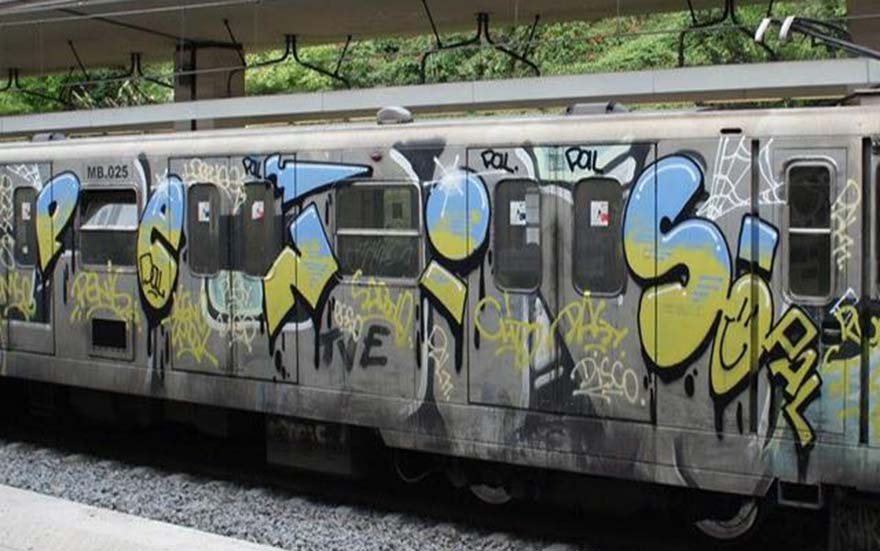 graffiti subway train rome italy penis pal