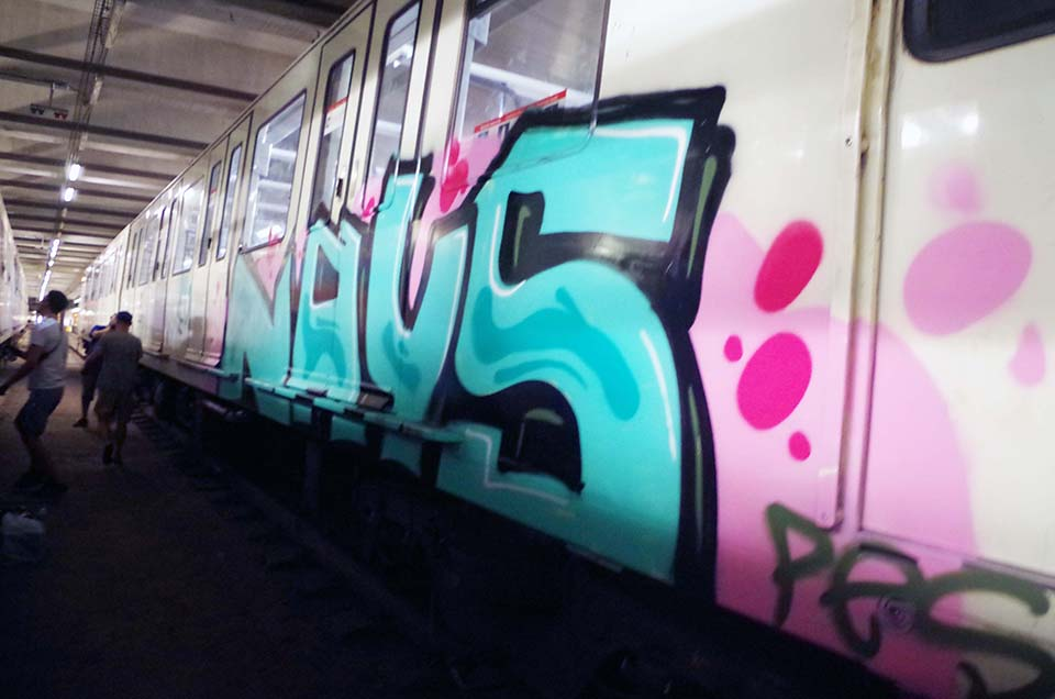 graffiti subway train barcelona spain