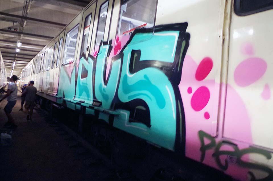 graffiti subway train barcelona spain