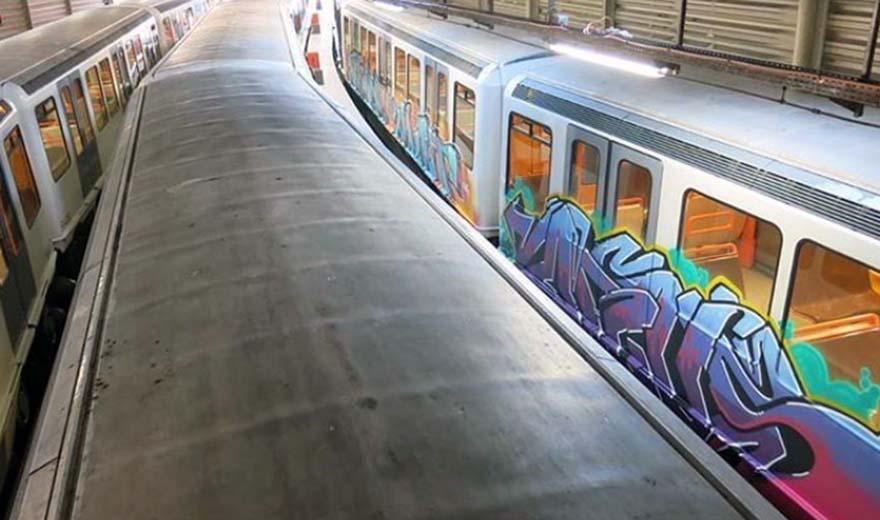 subway train graffiti marseille france yard